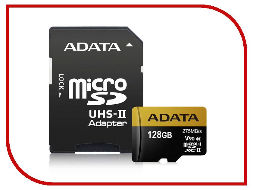 Карта памяти 128Gb - A-Data Premier - MicroSD UHS-II U3 AUSDX128GUII3CL10-CA1 с переходником под SD