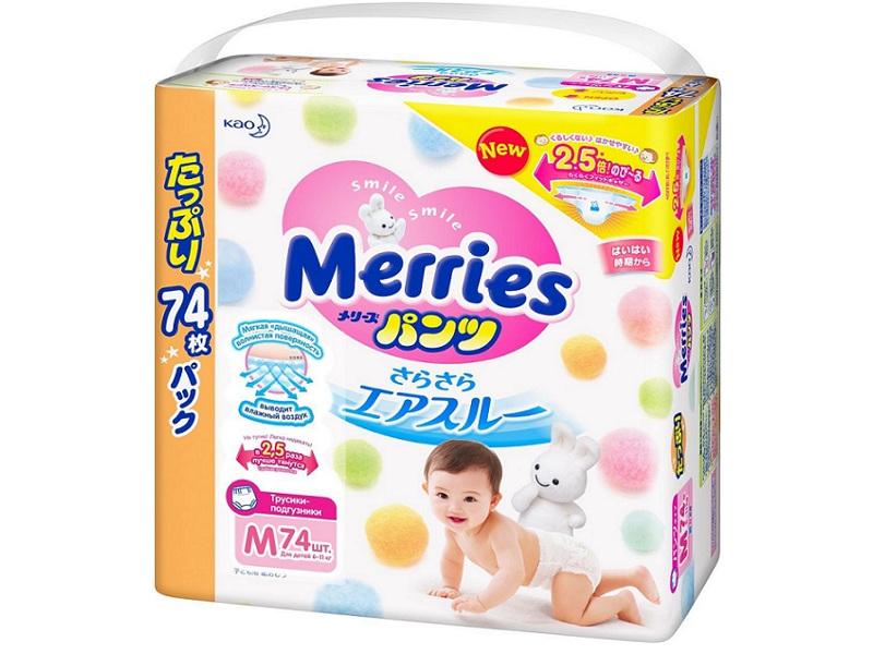 Подгузники Merries Трусики M 6-11кг 74шт