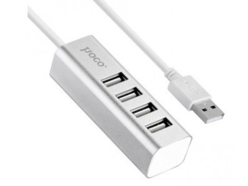 Хаб USB Hoco HB1 4xUSB Line Machine Silver