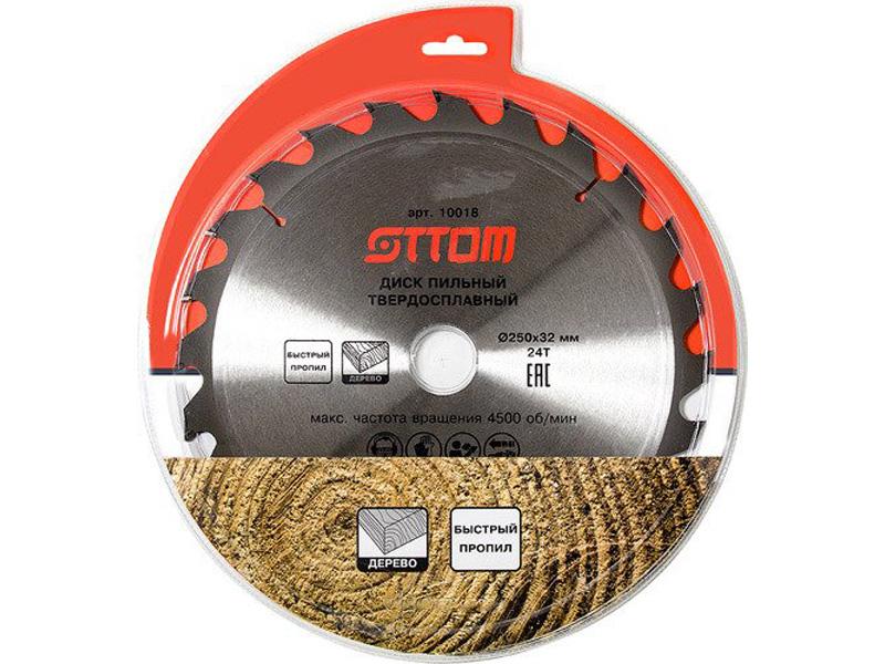 Диск Ottom 250x32/30-24т пильный для древесины, мдф, дсп, фанеры 10018 рулетка ottom 10m 90004