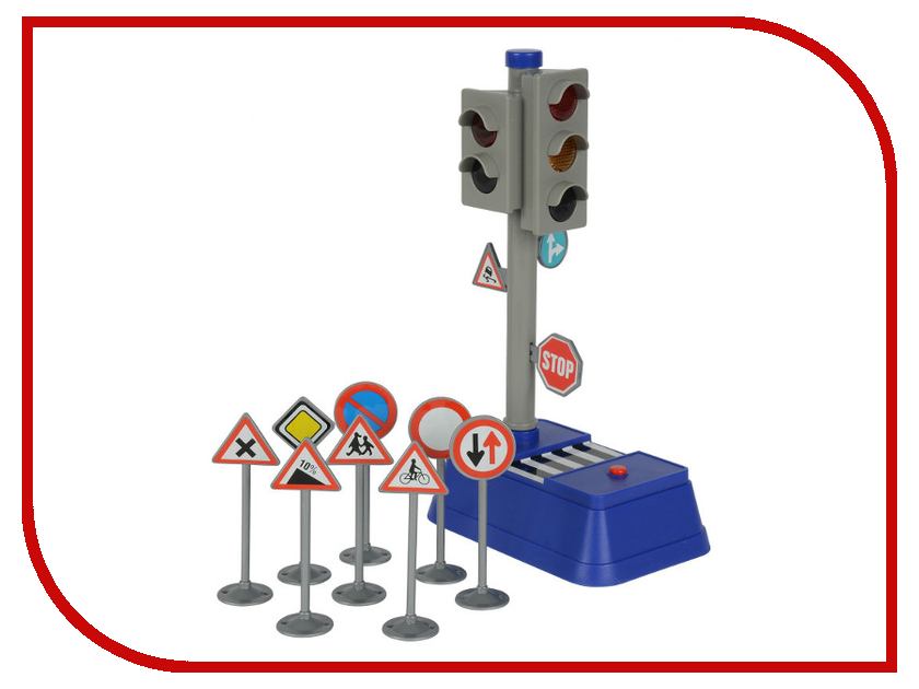 Игрушка Dickie Toys Светофор + набор дорожных знаков 3741001 dickie toys dickie toys игровой набор трейлер дом на колесах