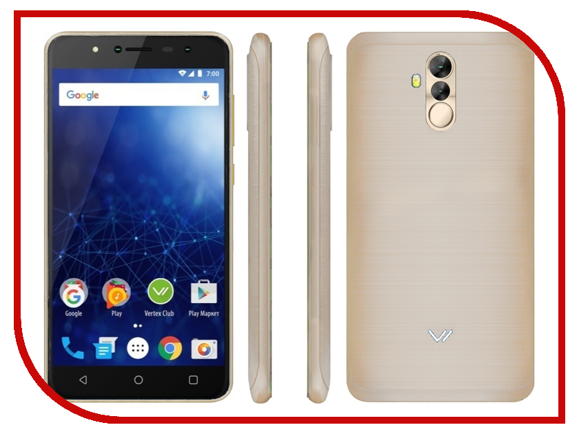 Сотовый телефон Vertex Impress New LTE Gold сотовый телефон vertex impress fortune lte gold