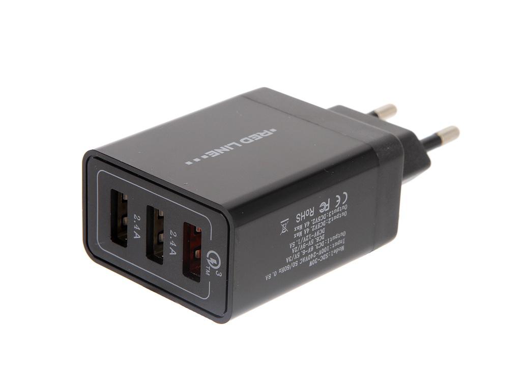 Зарядное устройство Red Line NQC-3A Tech 3xUSB QC 3.0 Black УТ000015765