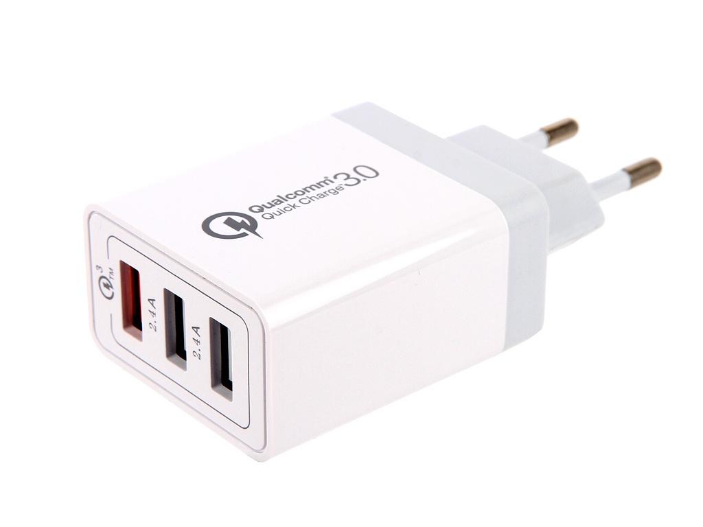 Зарядное устройство Red Line NQC-3A Tech 3xUSB QC 3.0 White УТ000015723
