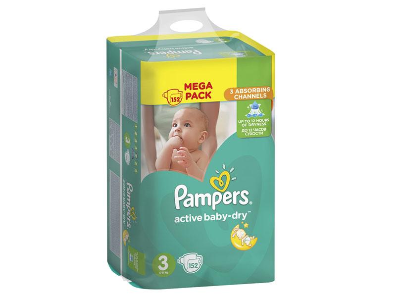 Подгузники Pampers Active Baby-Dry Midi 6-10кг 152шт 8001090459459