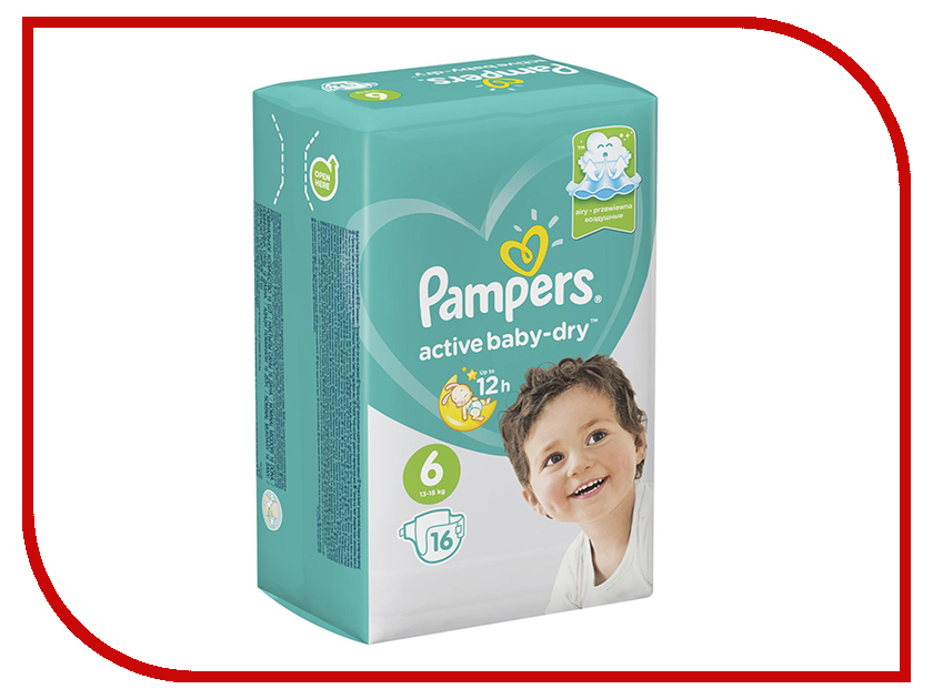 Подгузники Pampers Active Baby-Dry Extra Large 13-18кг 16шт 8001090783929 подгузники pampers active baby dry размер 4 7 14 кг 132 шт