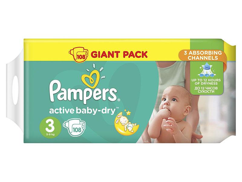 Подгузники Pampers Active Baby-Dry Midi 5-9кг 108шт 8001090458919