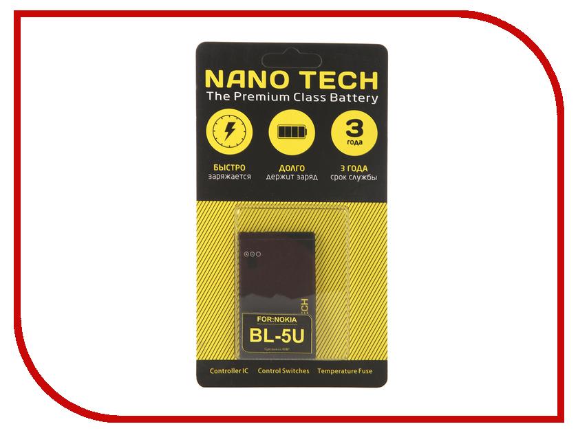 Аккумулятор Nano Tech (Аналог BL-5U) 1000 mAh для Nokia 3120/Arte/E66/5530 аккумулятор nano tech аналог bl 5k 1200 mah для nokia n85 n86