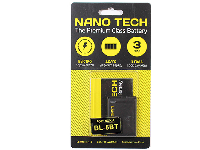 Аккумулятор Nano Tech (Аналог BL-5BT) 870 mAh для Nokia 2600c аккумулятор nano tech аналог bl 5h 1830 mah для nokia lumia 630 635