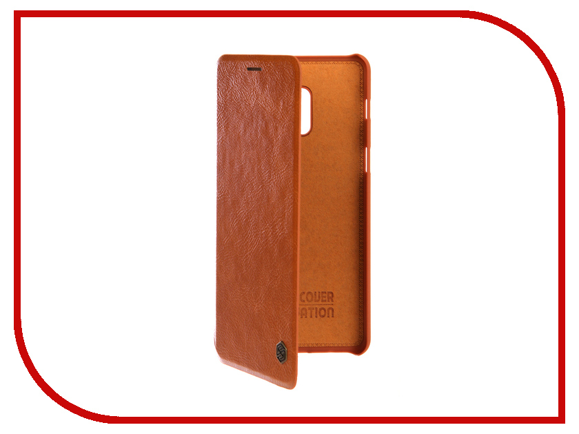Аксессуар Чехол для Samsung Galaxy A8 Plus 2018 Nillkin Qin Leather Case Brown nillkin protective matte frosted pc back case cover for samsung galaxy alpha g850f champagne gold
