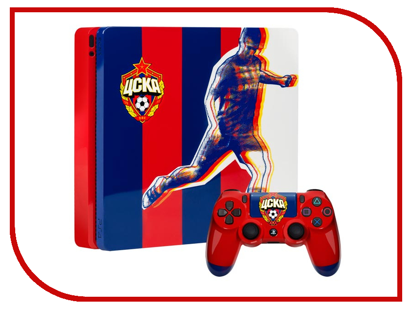 Игровая приставка Sony PlayStation 4 Slim 500Gb ЦСКА Red-Blue CUH-2008A джойстик brosco sony playstation 3 реплика doubleshock 3