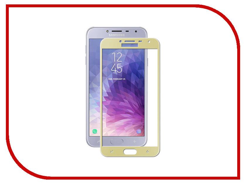 Аксессуар Защитное стекло для Samsung Galaxy J4 2018 Onext Full Glue с рамкой Gold 41692 аксессуар защитное стекло для samsung galaxy s7 onext 3d с рамкой silver