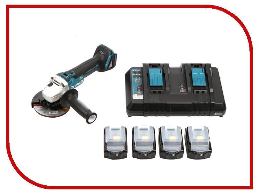 Шлифовальная машина Makita DGA504Z + Аккумулятор BL1850B Li-ion 18V 5Ah х4шт + ЗУ DC18RD + Кейс MakPac 199227-8 аккумулятор bosch gba 10 8 v 2 5ah ow b 1600a00j0e