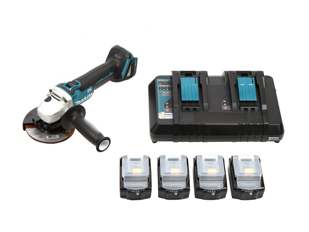Шлифовальная машина Makita DGA504Z + Аккумулятор BL1850B Li-ion 18V 5Ah х4шт + ЗУ DC18RD + Кейс MakPac 199227-8 цена и фото