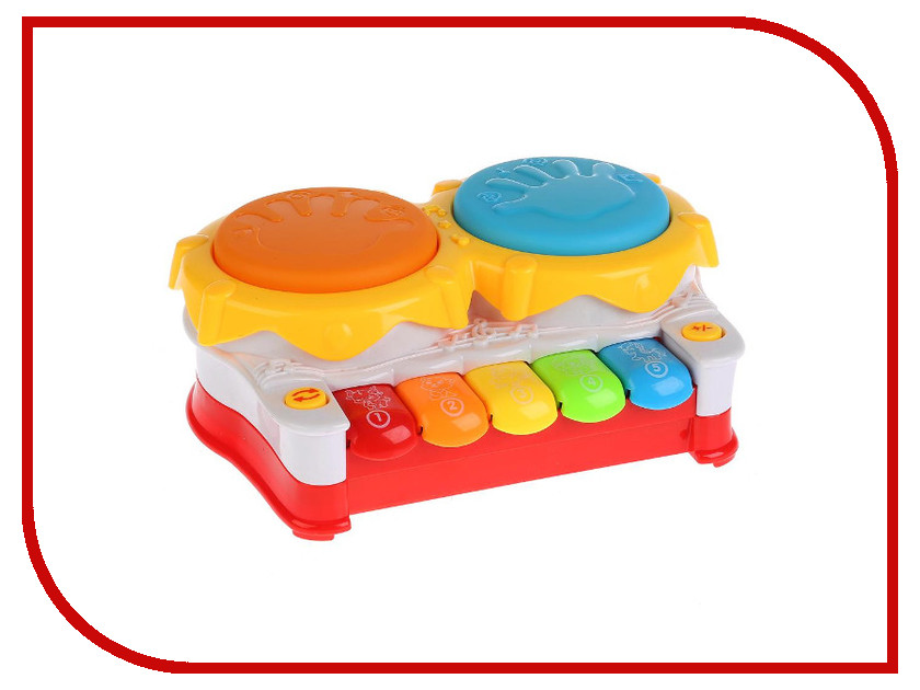 Детский музыкальный инструмент Умка Барабан с пианино Учим цифры, цвета и животных B1305975-R