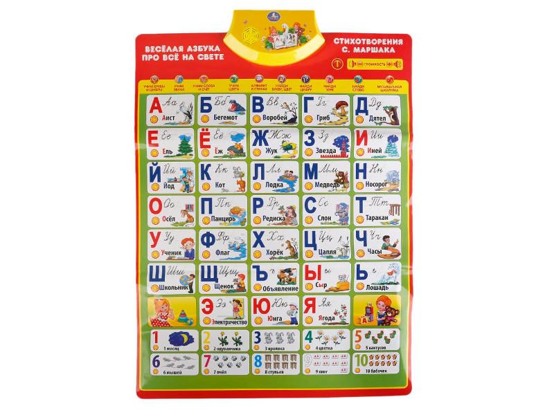 Звуковой плакат Умка Азбука С. Маршак HX0251-R7 развивающая игра умка говорящий плакат hx0251 r13