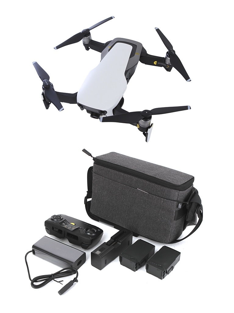 Квадрокоптер DJI Mavic Air Fly More Combo Arctic White квадрокоптер dji mavic air с камерой черный