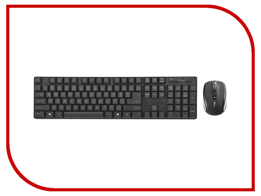 Набор Trust Ximo Wireless Keyboard & Mouse Black USB mele f10 pro 2 4ghz air mouse wireless keyboard intelligent voice