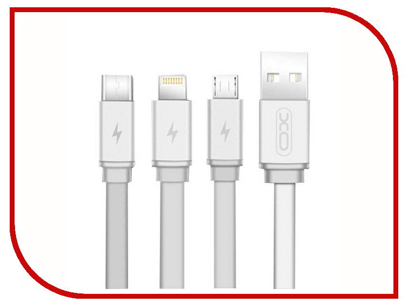 Аксессуар XO 3в1 USB - Lightning/MicroUSB/Type-C White NB18 цена