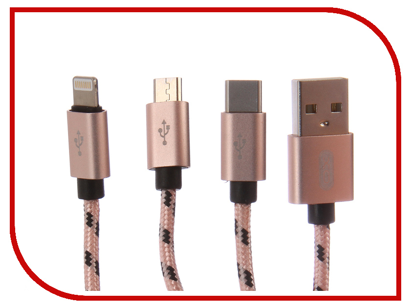 цены Аксессуар XO 3в1 USB - Lightning/MicroUSB/Type-C Pink NB10