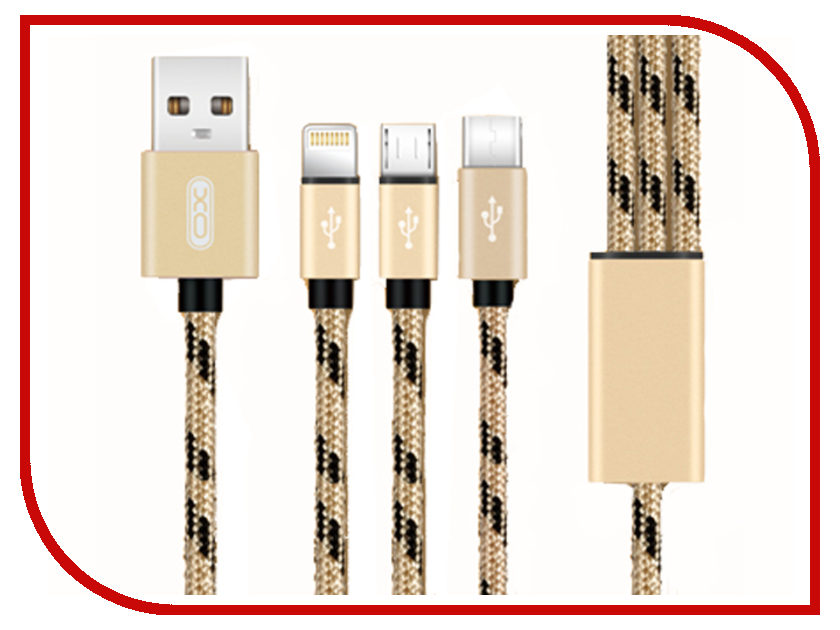 Аксессуар XO 3в1 USB - Lightning/MicroUSB/Type-C Gold NB10 аксессуар xo usb lightning 8 pin 1 0m red nb15