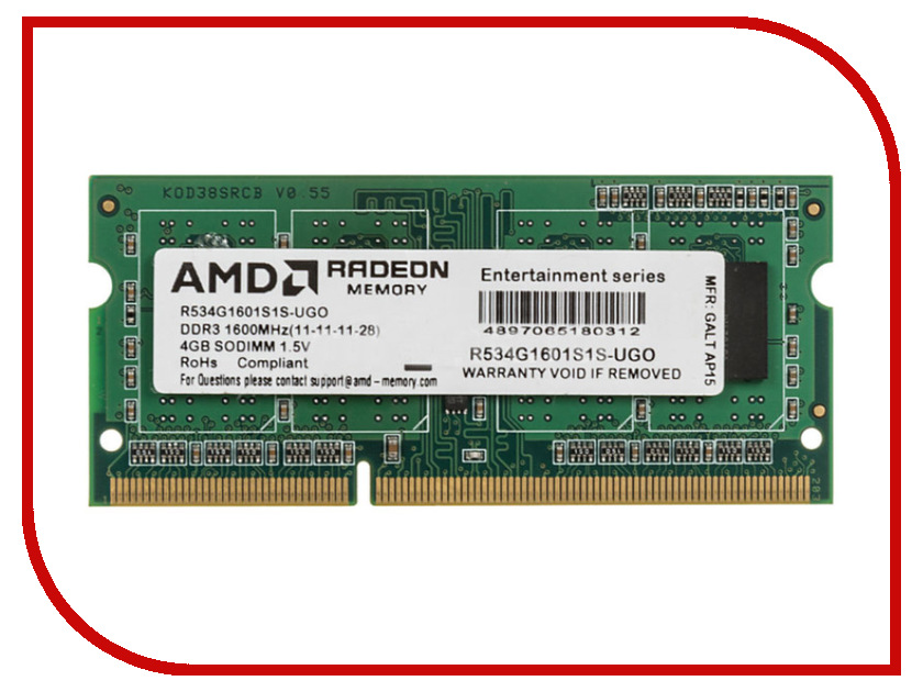 Модуль памяти AMD DDR3 SO-DIMM 1600MHz PC3-12800 CL11 - 4Gb R534G1601S1S-UGO оперативная память 2gb pc3 12800 1600mhz ddr3 dimm amd r532g1601u1s ugo
