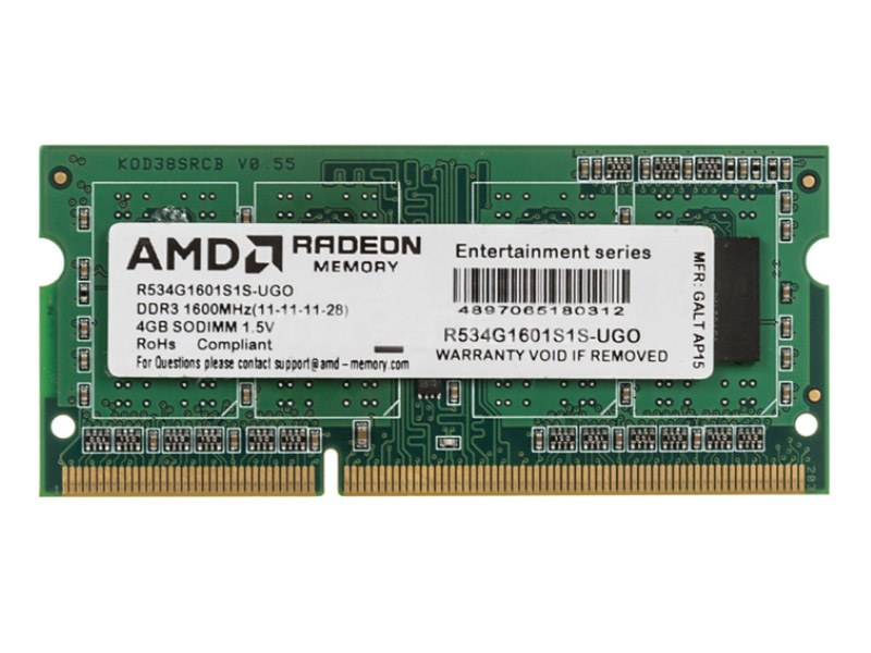 Модуль памяти AMD DDR3 SO-DIMM 1600MHz PC3-12800 CL11 - 4Gb R534G1601S1S-UGO
