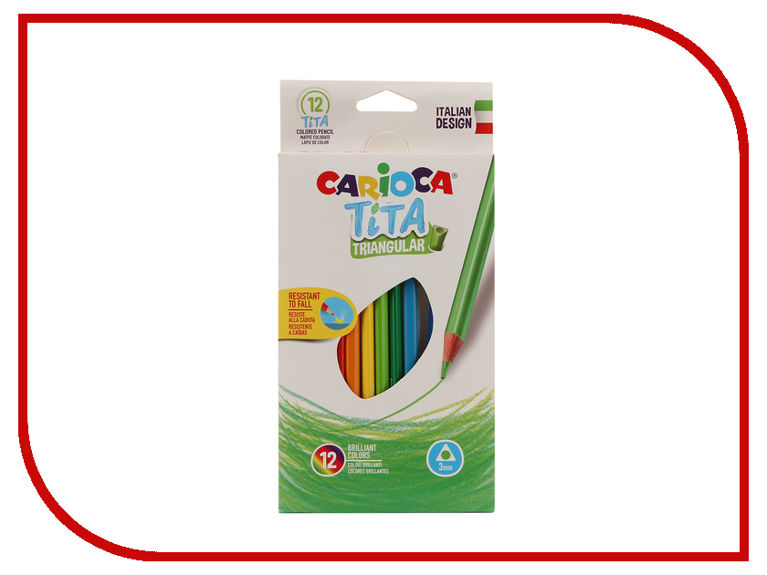Карандаши цветные Carioca Tita 12 цветов 42786 / 262579 карандаши восковые мелки пастель carioca карандаши jumbo 12 цветов