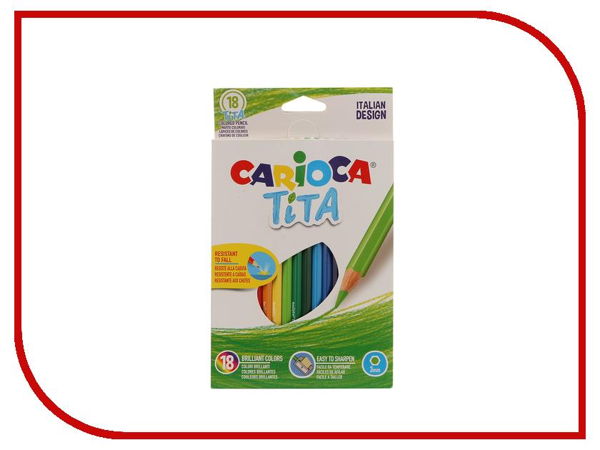 Карандаши цветные Carioca Tita 18 цветов 42827 / 262578 карандаши восковые мелки пастель carioca карандаши jumbo 12 цветов