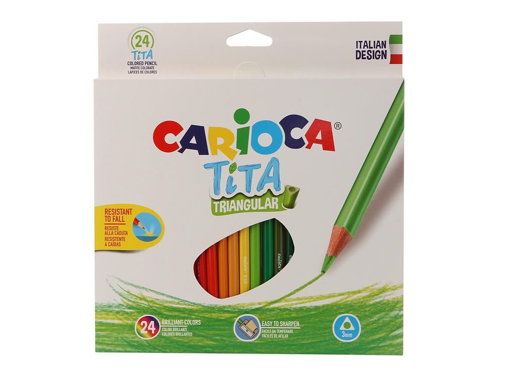 Карандаши цветные Carioca Tita 24 цвета 42787 / 262580 набор цветных карандашей carioca tita пластиковые с европодвесом 24 цвета