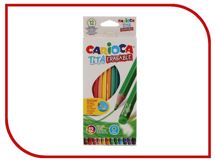 Карандаши цветные Carioca Tita Erasable 12 цветов 42897 / 262581 карандаши восковые мелки пастель carioca карандаши 6 цветов