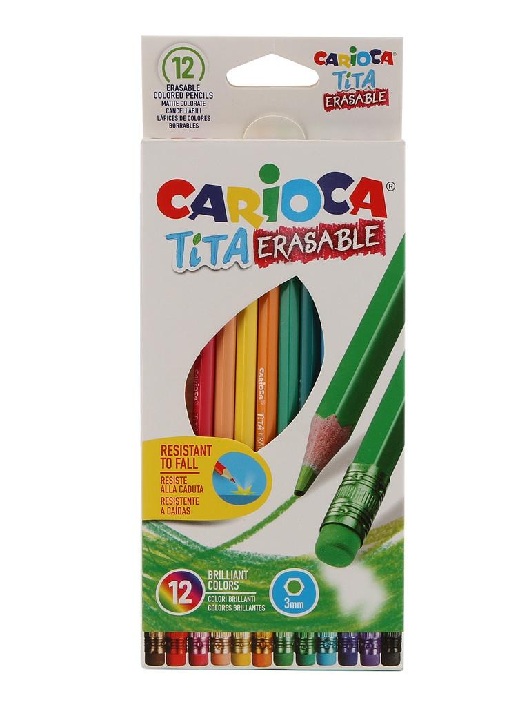 Карандаши цветные Carioca Tita Erasable 12 цветов 42897 / 262581 карандаши цветные universal carioca jumbo 6 цветов