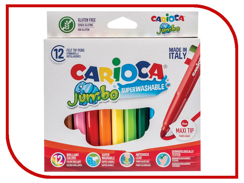 Фломастеры Carioca Jumbo 12 цветов 40569 / 151461 colorful coated paper clips 80 jumbo 250 small