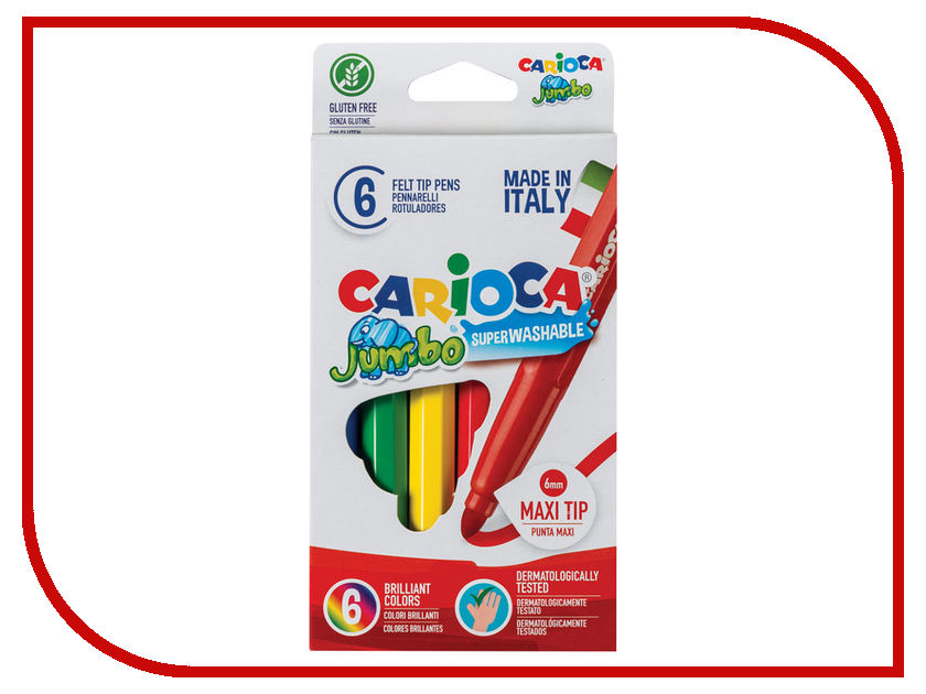 Фломастеры Carioca Jumbo 6 цветов 40568 / 151462 colorful coated paper clips 80 jumbo 250 small