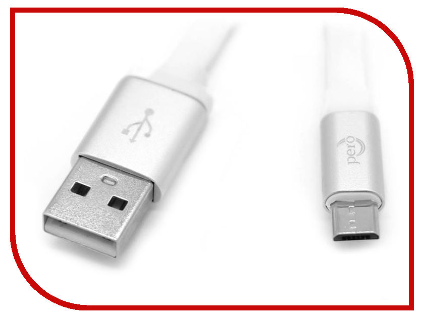 купить Аксессуар Pero USB - microUSB 2A 2m PRDC-MU2MW White по цене 397 рублей