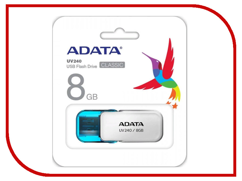 USB Flash Drive 8Gb - A-Data UV240 White AUV240-8G-RWH цена и фото