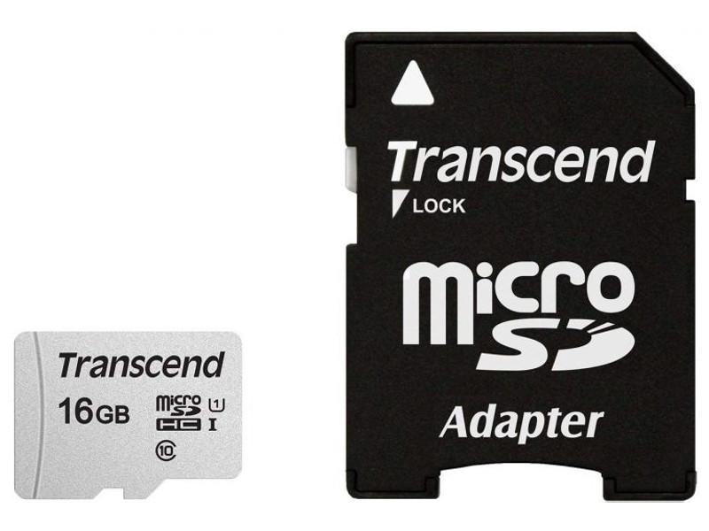 Карта памяти 16Gb - Transcend 300S MicroSDHC Class 10 UHS-I TS16GUSD300S-A с переходником под SD