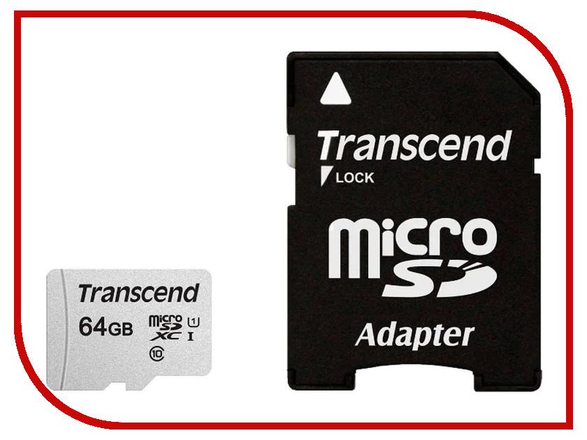 Карта памяти 64Gb - Transcend 300S MicroSDHC Class 10 UHS-I TS64GUSD300S-A transcend sdxc class 10 uhs i u3х 64gb карта памяти