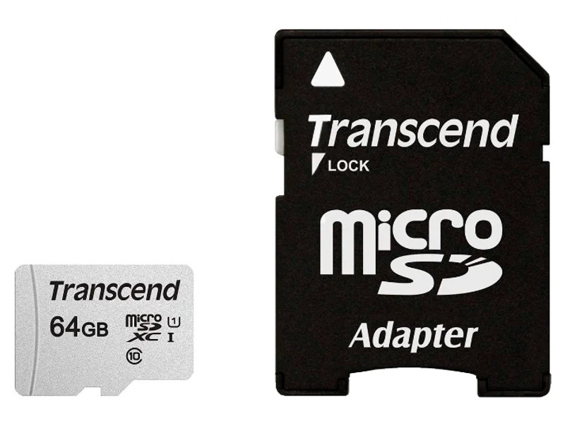 Карта памяти 64Gb - Transcend 300S MicroSDHC Class 10 UHS-I TS64GUSD300S-A