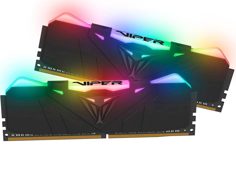 Фото - Модуль памяти Patriot Memory PVR416G413C9K RGB DDR4 DIMM 4133MHz PC4-33000 CL19 - 16Gb KIT (2x8Gb) оперативная память patriot memory viper rgb 16gb 8gbx2 ddr4 4133mhz dimm 288 pin cl19 pvr416g413c9k