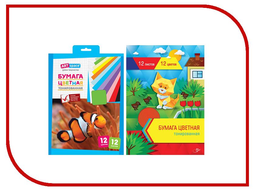 Цветная бумага ArtSpace A4 12 цветов Тонированная Нбт12-12_1810