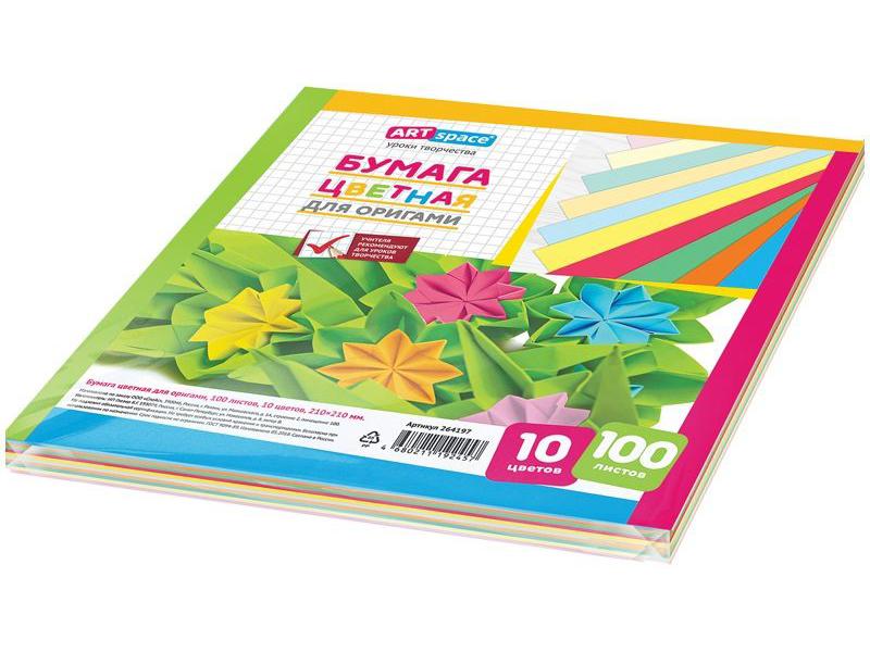 Цветная бумага ArtSpace 10 цветов 100 листов 264197 цветная бумага artspace a4 16 листов 8 цветов нб16 8дв 043