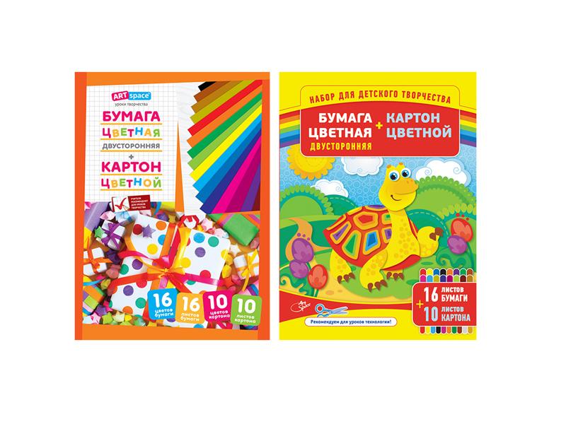 Набор цветной бумаги и картона ArtSpace A4 16 листов Нкб10-16_4455 209668