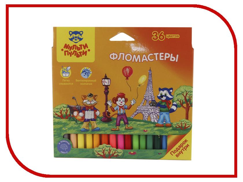 Фломастеры Мульти-пульти Енот во Франции 36 цветов WP_16674 карандаши восковые мелки пастель мульти пульти карандаши цветные енот в индии 36 цветов