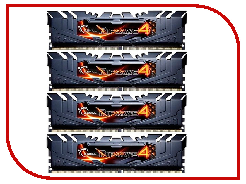 Модуль памяти G.Skill Ripjaws 4 DDR4 DIMM 3000MHz PC4-24000 CL15 - 32Gb KIT (4x8Gb) F4-3000C15Q-32GRK модуль памяти klevv ddr4 dimm 3000mhz pc24000 cl15 32gb km4z16x2a 3000 1