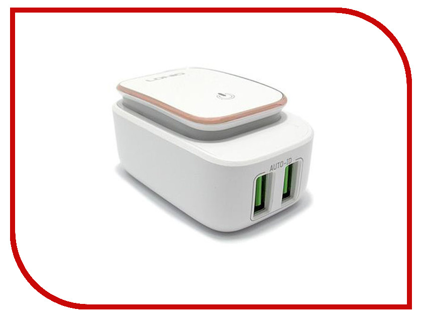 Зарядное устройство LDNIO 2xUSB + Lightning 8 pin А2205 LED Series 2.4A White surveillance cameras 8 led infrared fill light white