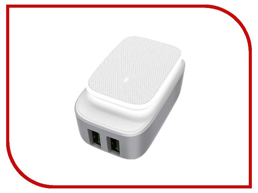 Зарядное устройство LDNIO 2xUSB + microUSB А2205 LED Series 2.4A White