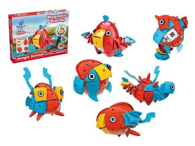 Конструктор Shantou Gepai / Наша игрушка Животные тропического леса Магнитный 93 детали 302 951447