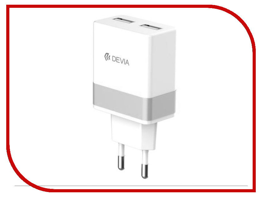 Зарядное устройство Devia Charger Rockwall 2 Pin White-Silver 19546 camera battery charger cradle for panasonic s001e s001 bca7 dc2 ac 100 240v 2 flat pin plug