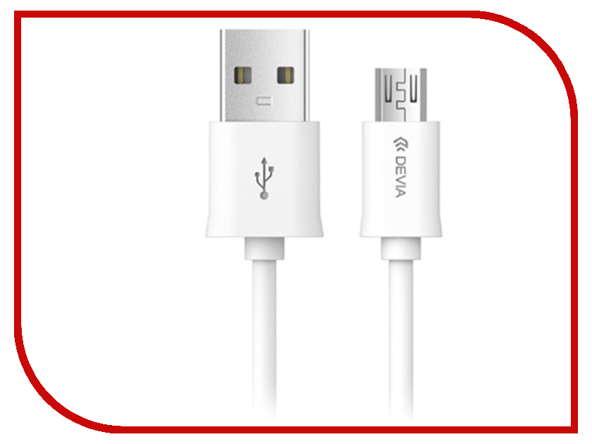 Фото - Аксессуар Devia Smart Cable Micro USB 1m White 16998 tronsmart usb 2 0 male to micro usb cable 5 pack 0 3m 1m 1 8m